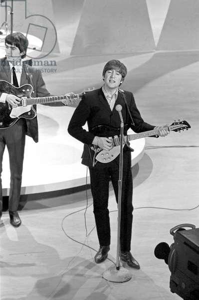 Beatles on Ed Sullivan Show, Feb 1964, New York City. George Harrison and John Lennon shown. Photo by: John G. Zimmerman Archive / Courtesy Everett Collection**HIGHER RATES APPLY**