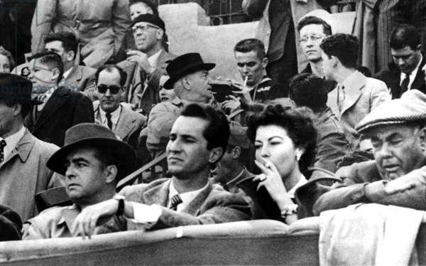 AVA GARDNER at bullfights with bullfighter LUIS MIGUEL DOMINGUIA, Toledo, Spain, 4/18/1954.