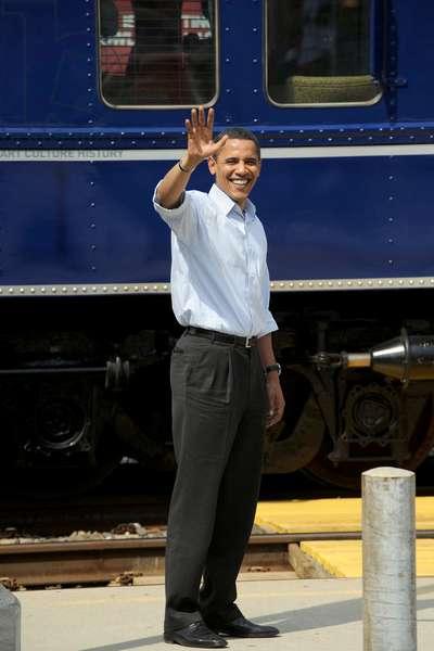 Barack Obama: Barack Obama at a public appearance for Barack Obama Whistle Stop Tour in Pennsylvania, train station, Paoli, PA, April 19, 2008.