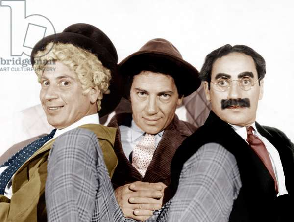 From left: Harpo Marx, Chico Marx, Groucho Marx, (the Marx Brothers), MGM portrait, ca. mid-late 1930s