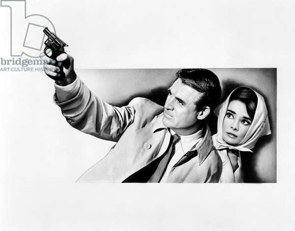 CHARADE, from left: Cary Grant, Audrey Hepburn, ad art, 1963