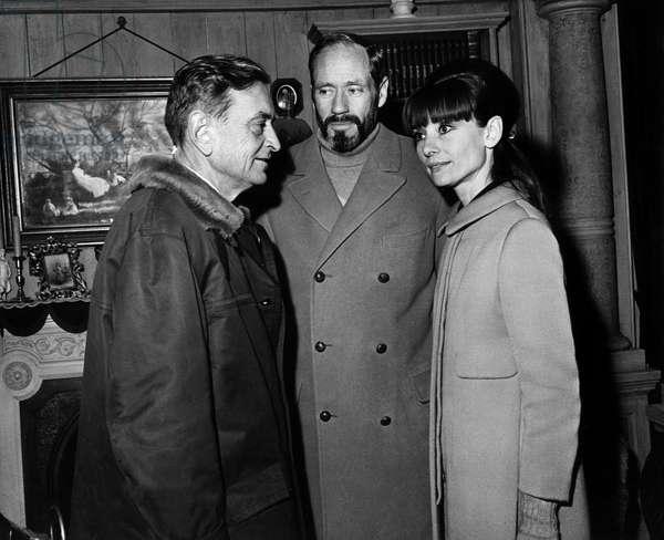 David Lean, Mel Ferrer, Audrey Hepburn on the set of DOCTOR ZHIVAGO, 1965