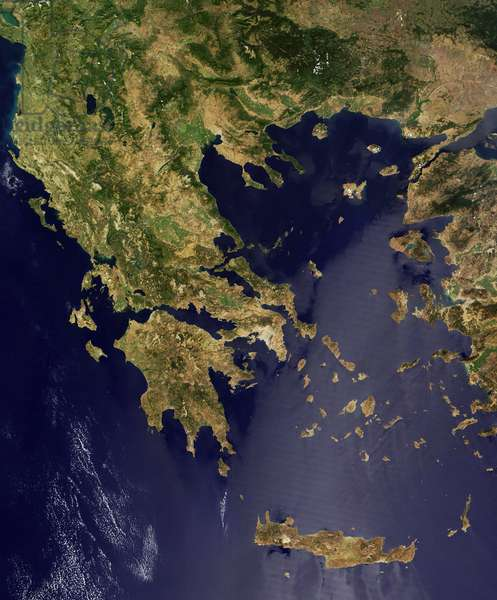 GREECE. Image taken by NASA¿s Terra satellite on August 19, 2004: GREECE. Image taken by NASA's Terra satellite on August 19, 2004