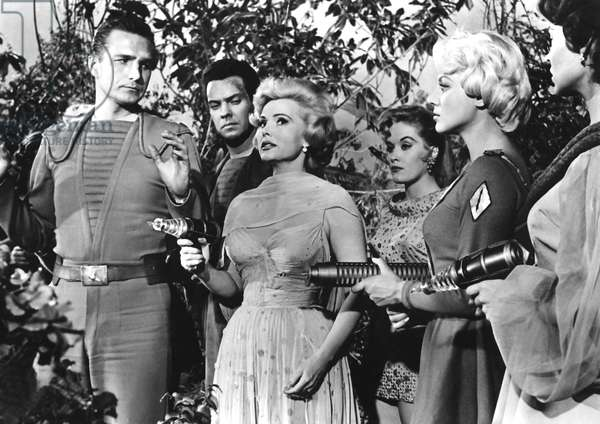 QUEEN OF OUTER SPACE, Eric Fleming, Zsa Zsa Gabor, 1958