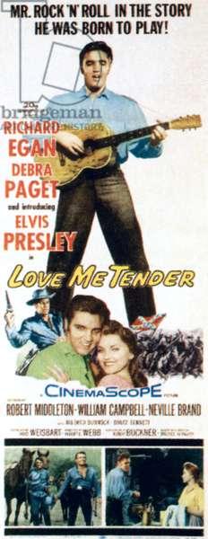LOVE ME TENDER, top: Elvis Presley, bottom from left: Richard Egan, Elvis Presley, Debra Paget, 1956.