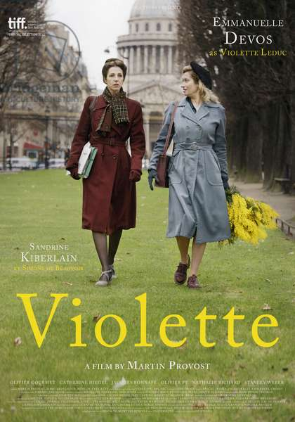 VIOLETTE, US poster art, from left: Sandrine Kiberlain as Simone de Beauvoir, Emmanuelle Devos as Violette Leduc, 2013. /©Adopt Films/courtesy Everett Collection