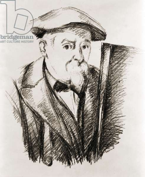 Paul Cezanne: Paul Cezanne (1839-1906), French Post Impressionist painter, in a self portrait at his easel. Ca. 1900.