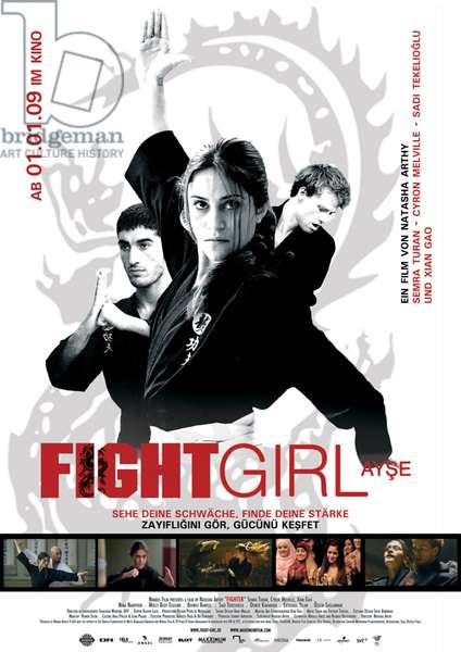 FIGHTER: FIGHTER, (aka FIGHTGIRL), l-r: Nima Nabipour, Semra Turan (also on bottom), Cyron Bjorn Melville on German poster art, 2007, ©IFC/courtesy Everett Collection