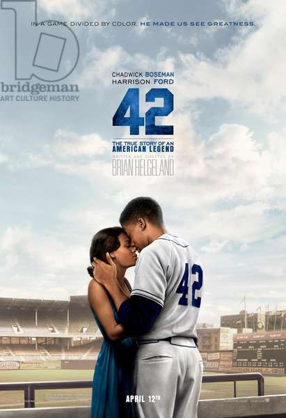 42, (aka FORTY-TWO), US advance poster art, from left: Nicole Beharie, as Rachel Isum, Chadwick Boseman as Jackie Robinson, 2013. /©Warner Bros. Pictures/courtesy Everett Collection
