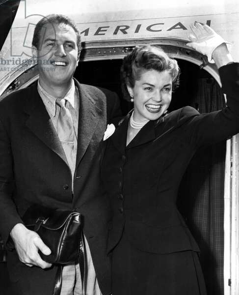 ESTHER WILLIAMS and husband, Ben Gage, arriving at La Guardia airport, NY, May 1951.