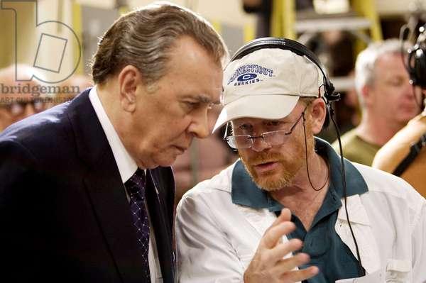 FROST/NIXON, Frank Langella as Richard Nixon, director Ron Howard, on set, 2008. ©Universal/courtesy Everett Collection