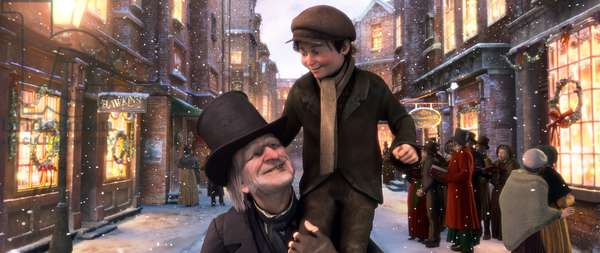 Le Drole de Noel: A CHRISTMAS CAROL, from left: Ebenezer Scrooge (voice: Jim Carrey), Tiny Tim (voice: Gary Oldman), 2009. ©Walt Disney Studios Motion Pictures/Courtesy Everett Collection