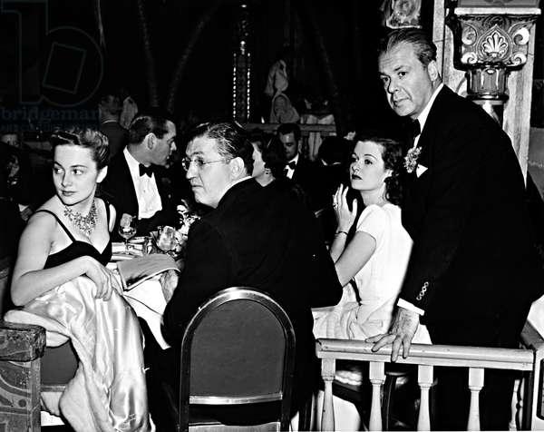 OLIVIA DE HAVILLAND, DAVID O. SELZNICK, JOAN BENNETT & WALTER WANGER, attending the 2nd Annual Gambol of the Stars, to support the Screen Actors Guild, 3/19/41.