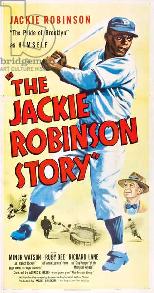 THE JACKIE ROBINSON STORY: THE JACKIE ROBINSON STORY, l-r: Jackie Robinson, Minor Watson on poster art, 1950.