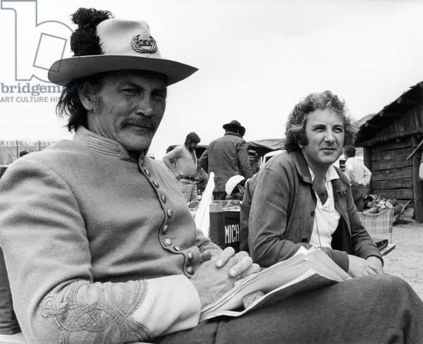 CHATO'S LAND, Jack Palance with director Michael Winner on location, 1972