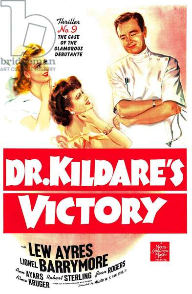 DR. KILDARE'S VICTORY: DR. KILDARE'S VICTORY: 'Thriller No. 9, The Case Of The Glamorous Debutante', US poster, from left: Jean Rogers, Ann Ayars, Lew Ayres, 1942
