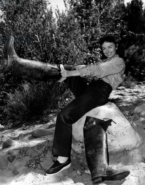 GUN FURY, Donna Reed fishing on location, Oak Creek, Sedona, AZ, 1953.