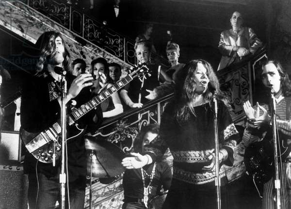 PETULIA, Big Brother and the Holding Company with lead singer Janis Joplin, 1968 (b/w photo)