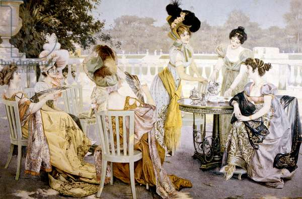 A painting depicting women wearing fashions of the 1820s at an outdoor tea party. Painting done around 1880. Photo: Courtesy Everett Collection