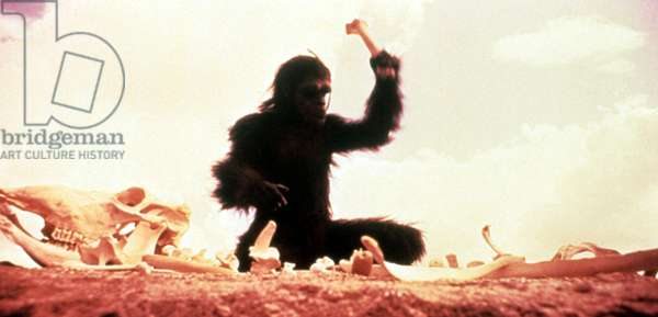 2001: A SPACE ODYSSEY, ape beating bones, 1968