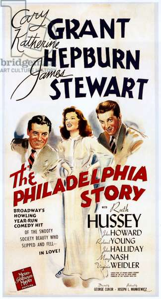 THE PHILADELPHIA STORY, from left: Cary Grant, Katharine Hepburn, James Stewart, 1940.