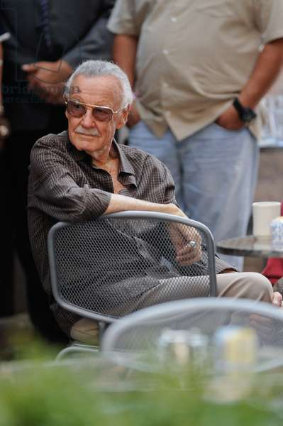 Stan Lee, films a scene at 'The Avengers' movie set at Pershing Square restaurant out and about for CELEBRITY CANDIDS - SAT, , New York, NY September 3, 2011. Photo By: Ray Tamarra/Everett Collection