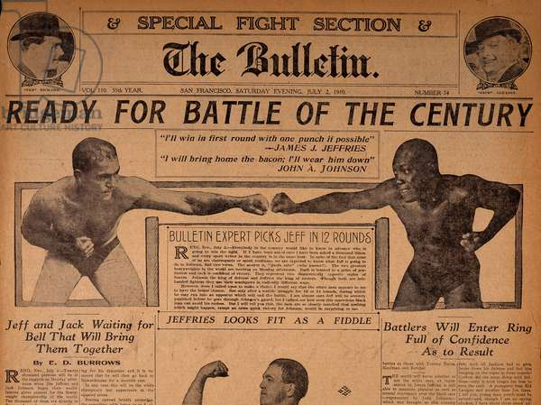 UNFORGIVABLE BLACKNESS: THE RISE AND FALL OF JACK JOHNSON, newspaper story regarding the upcoming 1910 heavyweight championship fight between Jim Jefferies and Jack Johnson, 2004, (c) Florentine Films/courtesy Everett Collection