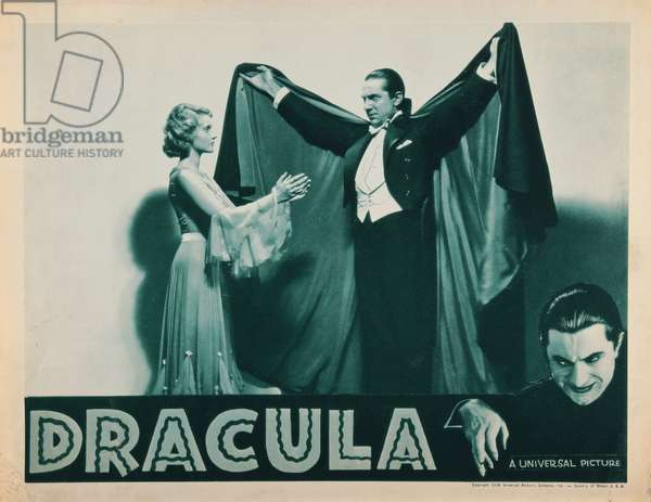 DRACULA, from left: Helen Chandler, Bela Lugosi, bottom right: Bela Lugosi on 1938 lobby card, 1931.