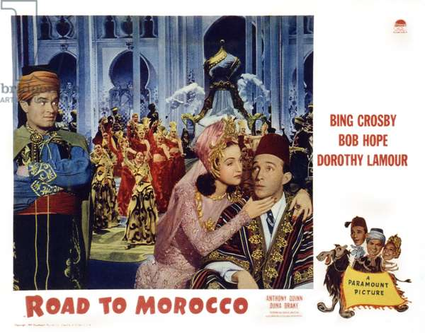 ROAD TO MOROCCO, US lobbycard, from left: Bob Hope, Dorthy Lamour, Bing Crosby, 1942