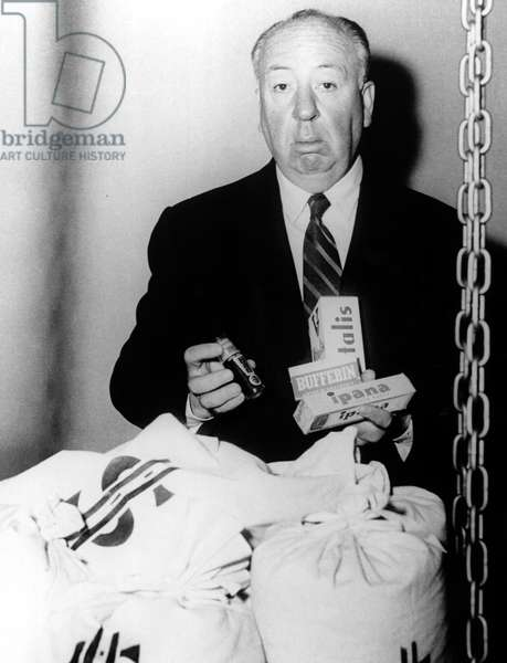 ALFRED HITCHCOCK PRESENTS, Alfred Hitchcock, 1955-1965, publicity shot with sponsor products