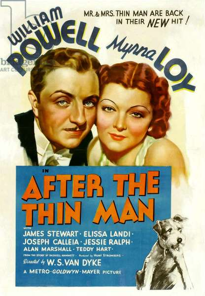 Nick, Gentleman detective: AFTER THE THIN MAN, William Powell, Myrna Loy, Asta, 1936