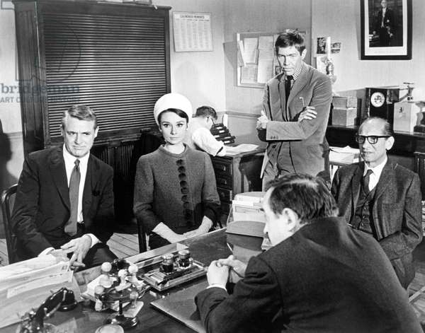 CHARADE, from left: Cary Grant, Audrey Hepburn, James Coburn, Ned Glass, 1963