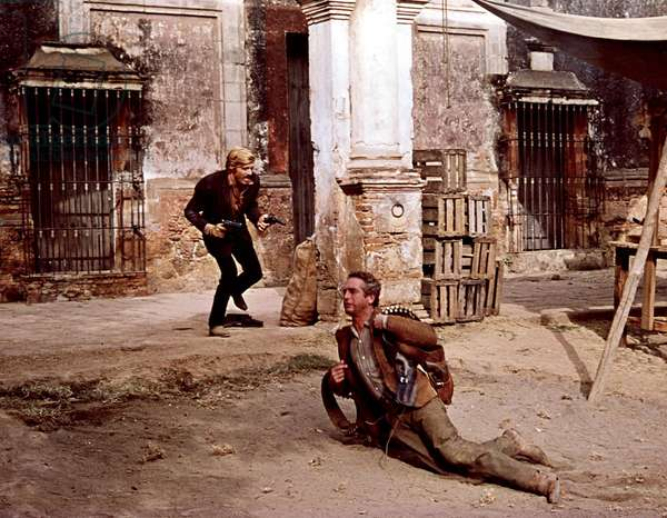 BUTCH CASSIDY AND THE SUNDANCE KID, Robert Redford, Paul Newman, 1969, in shootout. TM and Copyright (c) 20th Century Fox Film Corp. All rights reserved.