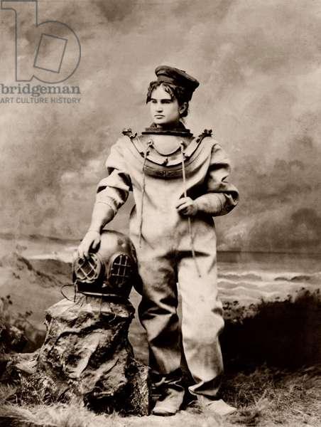 Sarah Bernhardt: Sarah Bernhardt (1844-1923), in sea-diving costume as The Ocean Empress. Ca, 1880.