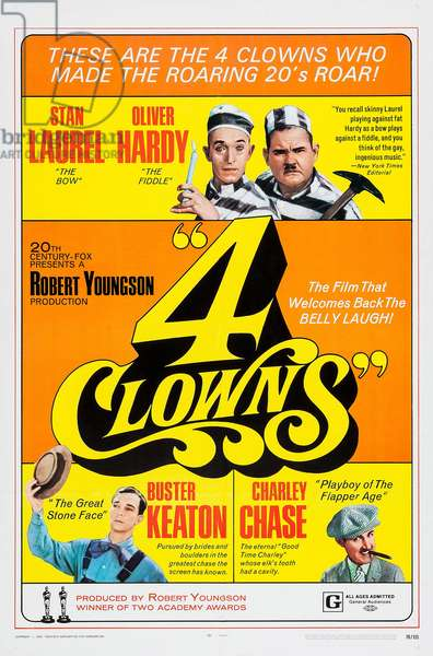 4 CLOWNS: 4 CLOWNS, top l-r: Stan Laurel, Oliver Hardy, bottom l-r: Buster Keaton, Charley Chase on poster art, 1970, TM and Copyright ©20th Century FoxFilm Corp. All rights reserved./courtesy Everett Collection