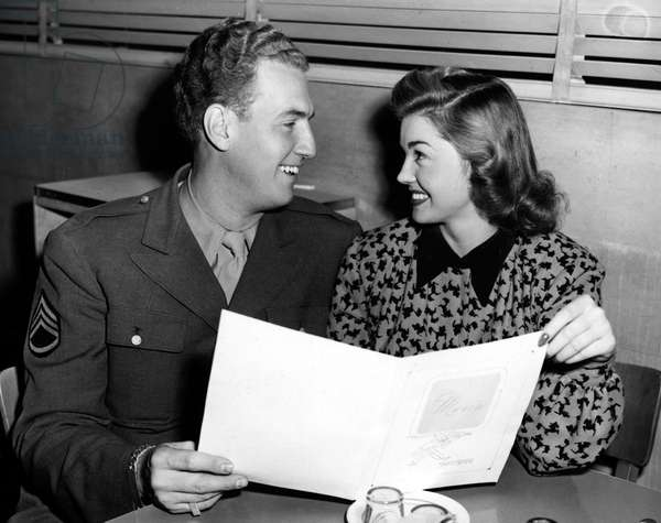 ESTHER WILLIAMS and Ben Gage announce their intention to marry. 1945.