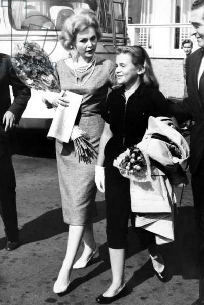 Zsa Zsa Gabor, with her daughter, Francesca Hilton (right), in Rome, Italy, October 1958