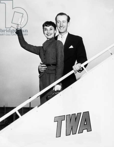 Audrey Hepburn, left and businessman James Hanson, (later Baron Hanson), arriving in New York from Rome, 1952