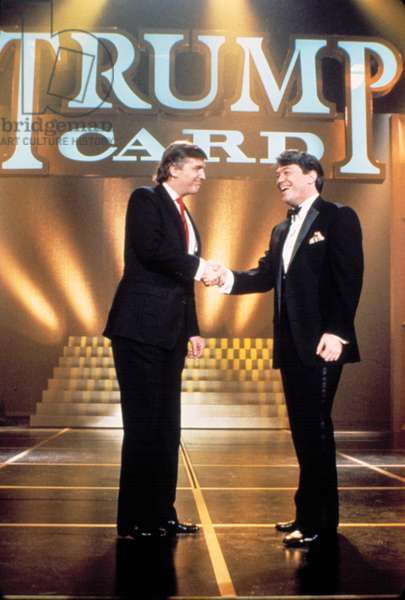 TRUMP CARD, Donald Trump greets Jimmy Cefalo, host of the 1990 game show.