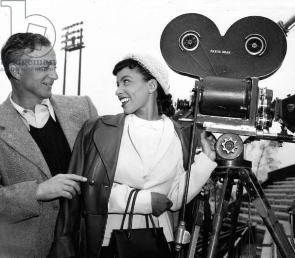 THE JACKIE ROBINSON STORY, Ruby Dee (right) on-set, 1950