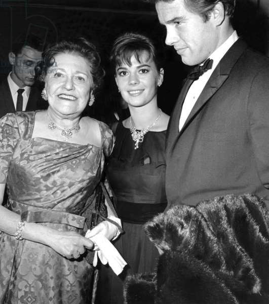 Louella Parsons, Natalie Wood, Warren Beatty, February 1962