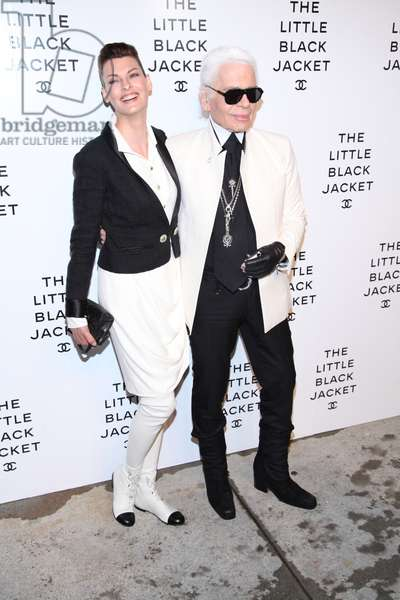 Linda Evangelista, Karl Lagerfeld at arrivals for The Little Black Jacket: CHANEL's Classic Revisited By Karl Lagerfeld And Carine Roitfeld New York Exhibition Celebration, Swiss Institute, New York, NY June 6, 2012. Photo By: Andres Otero/Everett Collection