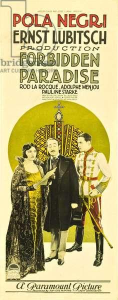 Paradis defendu: FORBIDDEN PARADISE, from left: Pola Negri, Adolphe Menjou, Rod La Rocque, 1924.