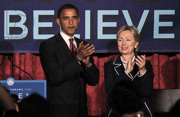 Barack Obama, Hillary Clinton at a public appearance for Women for Obama Fundraising Breakfast, New York Hilton Hotel, New York, NY, July 10, 2008. Photo by: Kristin Callahan/Everett Collection