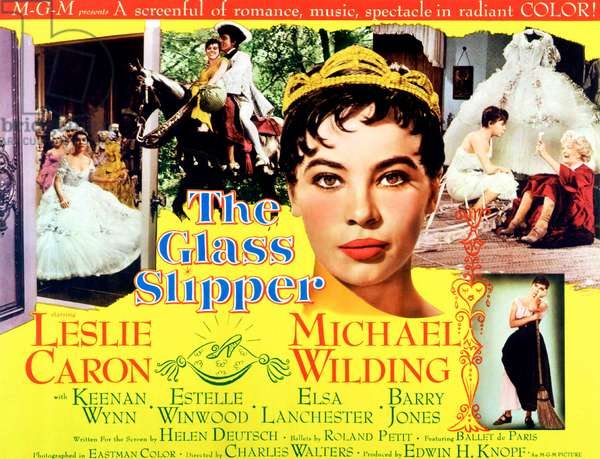 La pantoufle de verre: THE GLASS SLIPPER, Leslie Caron (with crown), 1955