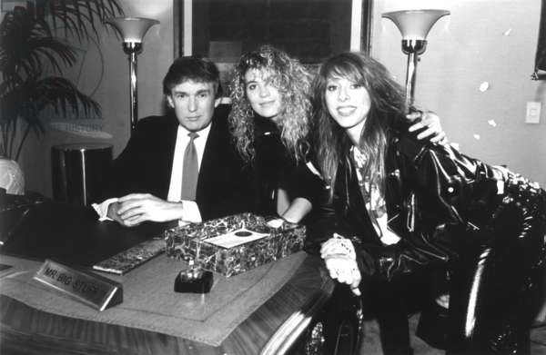 Donald Trump, appearing as 'Mr.Big Stuff', with Precious Metal, (Janet Robin, Leslie Knauer), in their video remake of the song, 1990.