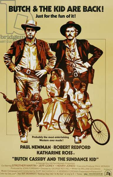 Butch Cassidy et le Kid: BUTCH CASSIDY AND THE SUNDANCE KID, top l-r: Paul Newman, Robert Redford, bottom l-r: Paul Newman, Robert Redford, Katharine Ross, Paul Newman, Katharine Ross on poster art, 1969, TM and Copyright ©20th Century Fox Film Corp. All rights reserved./courtesy Everett Collection
