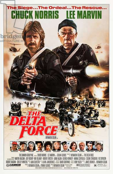 THE DELTA FORCE, top from left: Chuck Norris, Lee Marvin, bottom from left: Martin Balsam, Joey Bishop, Kim Delaney, Robert Forster, lainie Kazan, George Kennedy, Hanna Schygulla, Susan Strasberg, Bo Svenson, Robert Vaughn, Shelley Winters, 1986, © Cannon Films/courtesy Everett Collection