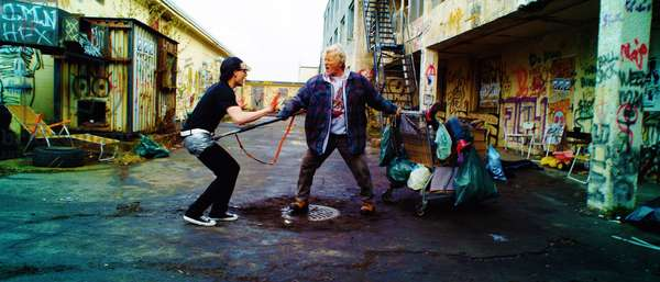 Hobo with a Shotgun: HOBO WITH A SHOTGUN, from left: Gregory Smith, Rutger Hauer, 2011. ph: Karim Hussain/©Magnet Releasing/courtesy Everett Collection