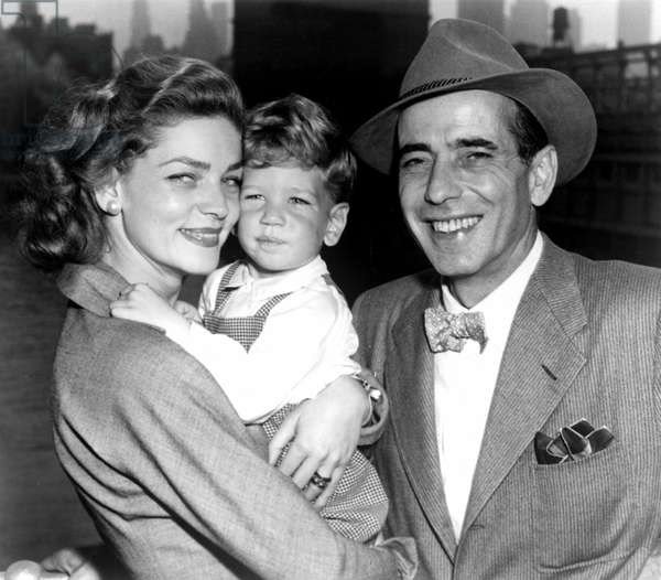 LAUREN BACALL, son STEPHEN HUMPHREY BOGART and HUMPHREY BOGART arrive in New York from Europe aboard the Ile de France, 9/13/51